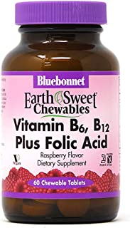 Bluebonnet Nutrition Earth Sweet Vitamin B6, B12, Plus Folic Acid Chewable Tablets, Vegan, Vegetarian, Gluten Free, Soy Fr...