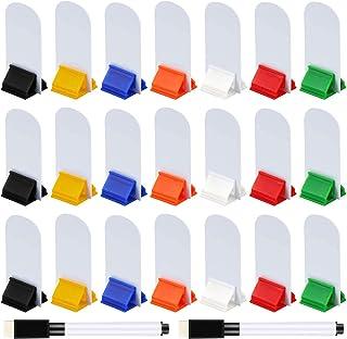 Meetory 45 stuks Blank Game Board Markers en 35 stuks Game Card Stands met 2 Stks Zwarte Marker Pennen, Plastic Token Kaar...