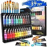 RATEL Conjunto de Pintura Acrílica, 24 tubos No tóxico Caja de Pintura Acrílica, con Pigmento Acrílico de 24×36 ml y 10 Pinceles de Pintura, para Papel, Roca, Madera, Cerámica, Tela, artesanías