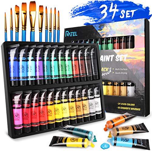 RATEL Acrylfarben Set, Premium 24 Tuben Acrylfarbe-Set Bunt mit 24×36 ml Pigment und 10 Malpinsel, Farbefür Papier, Stein, Holz, Keramik, Stoff, Acrylfarben für Künstler, Anfänger