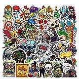 100pcs Skull Stickers Cool Skeleton Stickers Decals for Cars Vinyl Motorcycle Helmet Skateboard Stickers for Adults Teens Kids Skate Water Bottles Waterproof Graffiti Sticker Bomb Pack