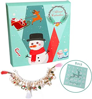 KERIQI Christmas Advent Calendars, Countdown Calendar with Fashion Bracelet 24 Days DIY Charms Set for Kids (Multicolor)