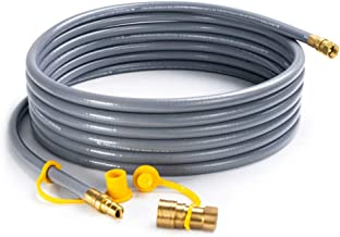 SHINESTAR 24 Feet Natural Gas Hose with 3/8in Male Flare Quick Connect/Disconnect for Fire Pit, Patio Heater, Pizza Oven, Grill- 50,000 BTU Fits Low Pressure Appliance with 3/8in Female Flare Fitting