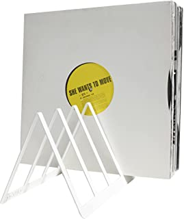 etterr Support présentoir étagère et rangement pour 50 disques en vinyle (Blanc)