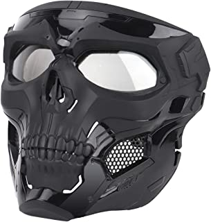 IDEKO Airsoft Skull Mask, Skull Full Face Protective Masks Tactical Mask Paintball Mask for Airsoft Paintball CS Wargame Halloween Cosplay Party