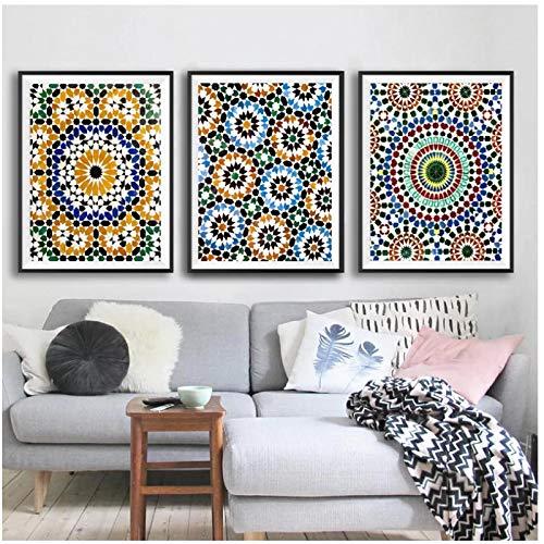 Azulejos marroquíes Patrón geométrico Impresiones en Lienzo Arte de la Pared Pinturas Marruecos Lienzo Arte de la Pared para Sala de Estar 15.7x23.6in (40x60cm) x3pcs SIN Marco