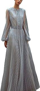WYYY ドレス 夏の季節 ロングスカート ロングスリーブ O襟 ネット糸 グレー セレブリティ シフォンドレス イブニングドレス (サイズ さいず : S s)
