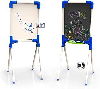 Chicos - Pizarra Junior, Reversible 2 En 1 para Rotuladores y Tizas, Incluye Rotulador, Tizas y Un Borrador, a partir de 3 años, Azul, 37 X 32.5 X 85 cm