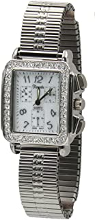 Women's Rectangular Stretch Band Watch with Crystal Accent