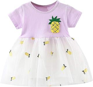 65fd48228ada2 AIni Girls' Summer Fashion Elegant Toddler Baby Girl Pineapple Patchwork  Tulle Skirt Party Princess Dress
