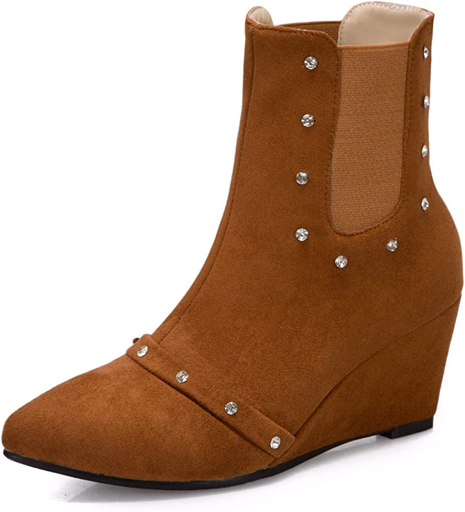 Vimisaoi latest Women's Fashion Wedge Ankle Cutout On Nippon regular agency Booties Slip Mid