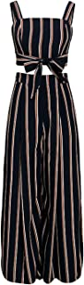 Boho Striped Chiffon Jumpsuit Romper Summer Crop Top Long Pants Women Beach Flare Jumpsuit