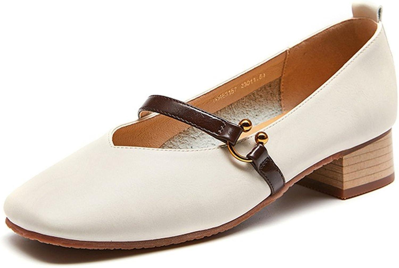 Damenschuhe Frühling Retro Square Head Mary Jane Schuh Mädchen mit seichten Mund Niedrigen Ferse Dick mit Schuhen  | Qualität und Quantität garantiert