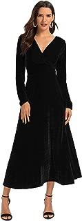 Women's Long Sleeve V-Neck Faux Wrap Velvet Maxi Dress