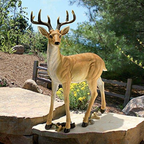 Design Toscano LY88195 Buck Deer Garden Statue Decoy, 37 Inch, Full Color