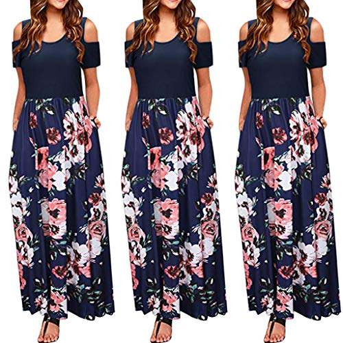 Women's Floral Print Casual Loose Plain Stretch Tank Maxi Long Dress