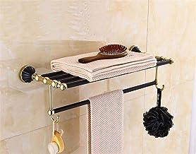 MBYW moderne minimalistische hoge dragende handdoek rek badkamer handdoekenrek Zwart plus goud roestvrij staal handdoek re...