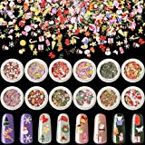 12 Boxes 3D Christmas Nail Art Decals Sticker Colorful Mixed Santa Christmas Tree Bows Snow Design Slice Nail Flakes for Christmas Nail Art Face Body Decoration DIY Crafting