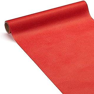 Le Nappage - Chemin de Table 3 en 1 Airlaid Rouge - Certifié FSC® - Chemin de Table en Papier Rouge Format 0,40 x 4,80 Mètres