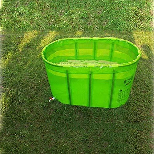 QZz Home® Barril de baño plegable doble para bañera, barril inflable para bañera (color: verde)