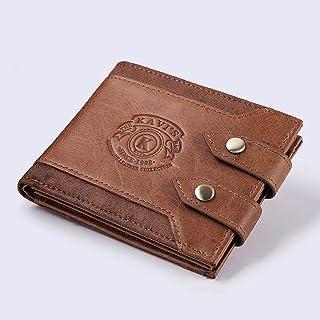 Men's Wallet Multi-function Money Purse Double Buckle Personalized Fashionable Leather Wallet Bags Wallet LTJALQ (Color : Orange, Size : S)