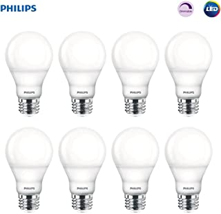 Philips 538322 LED Dimmable A19 Soft White Light Bulb with Warm Glow Effect: 800-Lumen, 2700-2200-Kelvin, 9.5-Watt, E26 Base, Frosted, 8-Pack