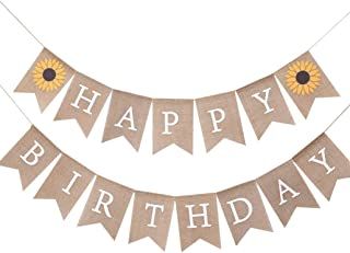 Sun Flower Happy Birthday Banner - Great for Birthday Decorations Supplies - Sunflower Party Theme Pull Flag - Smash Cake ...