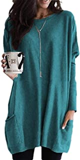 Comaba Women Oversize Pocket Relaxed Mid length Solid Color Long Sleeve Tee Tshirt Top