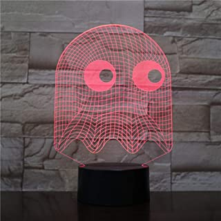 LLWWRR1 Game Pac Man Night Light Led 3D Bedroom Decorative Lamp Illusion Child Kids Baby Kit Blinky Inky Clyde Ghost Pac Man Lamp Table