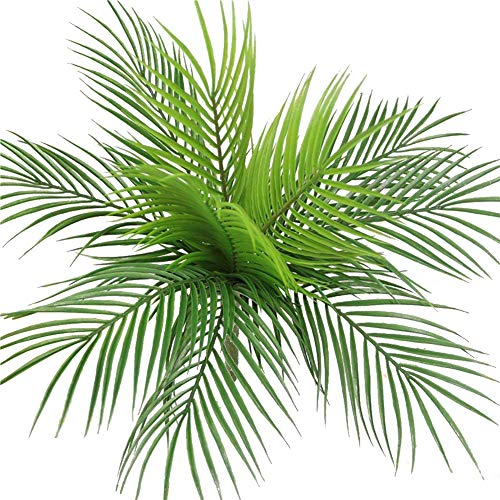 Bird Fiy Artificial Plants Palm Leaves Faux Fake Tropical Large Palm Tree Leaves Imitation Boston Fern Plant Leaf Green Greenery Bushes for Home Jungle Party Flowers Arrangement Wedding Decorations