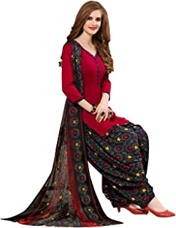 97c85e2c08 Spaceveera Women's Crepe Synthetic Printed Patiyala Unstitched Dress  Material with Dupatta (SVMAYA1001, Multicolour,