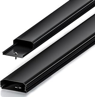 deleyCON Canaleta Universal para Colocar Cables y Líneas PVC de Primera Longitud de 100cm Ancho de 6cm Altura de 2cm - Negro