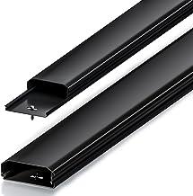 Conduit de câble goulotte de Distribution deleyCON Universal câblage Facile de câbles et Fils PVC de Longueur 100 cm, Largeur 6 cm, Hauteur 2 cm - Noir