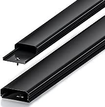 deleyCON Canalina portacavi e fili universale facile spostamento di cavi e fili PVC di alta qualità lunghezza 100cm, larghezza 6 cm, altezza 2 cm - Nero