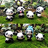 Chris.W 8pcs Dollhouse Miniature Panda Figurines Animal Figure Fairy Garden Terrarium Decorations Ornaments
