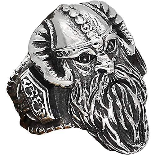 LH&BD Nordic Viking Vintage Odin Thammer Hammer Mjolnir Amulet Anelli di Gioielli Amulati a Mano in Acciaio Inox Punk Cool Band Banda Motociclista,10