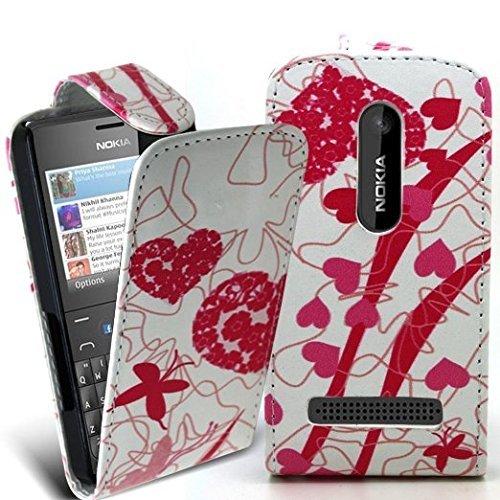 Accessory Master 5055716366877 Polka DOTT Elegantes Ledertasche für Nokia Asha 210 Multi