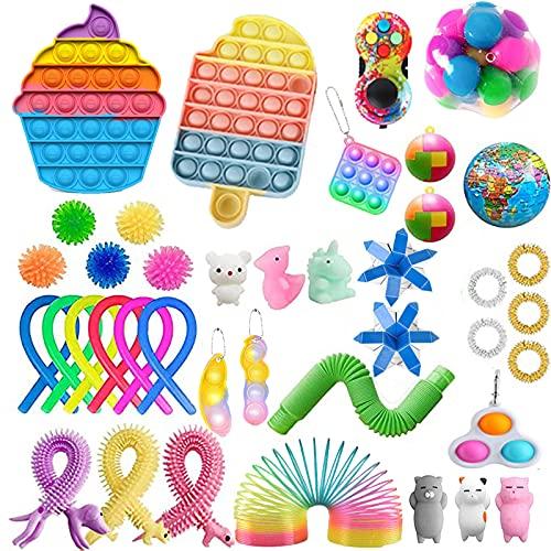 40Pcs TIK Tok Fidget Toys Pack Sensory Fidget Toys Push Bubble Pop Toy Stress Anxiety Relief Toys Set for ADD OCD Autistic Children Adults Anxiety Autism (42pcs d)