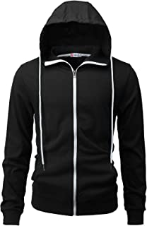 Mens Casual Zip up Hoodie Jacket Double Cotton Lightweight Hooded Various Designed
