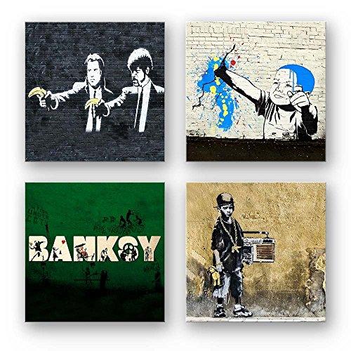 Banksy Bilder Set D, 4-teiliges Bilder-Set jedes Teil 29x29cm, Seidenmatte Optik auf Forex, Moderne schwebende Optik, UV-stabil, wasserfest, Kunstdruck für Büro, Wohnzimmer, XXL Deko Bild