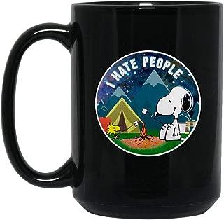 I Hate People Snoopy Camping T-Shirt (Mug 15oz; Black; 15oz)
