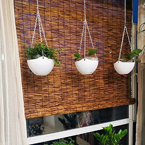 Geovne Persiana de bambú de carbonización Vintage,Rollo Bambú Ventanas,Estores de Bambú para Interiores,Reed Roller Blinds para Exteriores,para Aislamiento térmico,Transpirable (W60xH80cm/24x32)