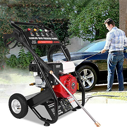 Gas Pressure Washer 3000PSI 215CC 7HP 4-Stroke Gas Petrol Engine Cold Water Car Pressure Washer with Spray Gun,5 Nozzles Allowable Temperature 0-60 ℃ Patio Garden Yard Vehicle Cleaning Machine