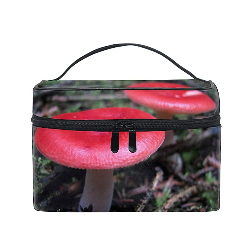 節約もう一度洗剤化粧ポーチ 化粧品 収納 コスメポーチ レディース ポーチ 大容量 軽量 防水Deep Red Mushrooms
