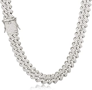 PY BLING 14K Gold/White Rose Gold Plated 12mm Hip Hop Full Iced Out Miami Cuban Link Chain Choker CZ Lab Diamond Necklace/...