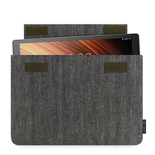 Adore June 10.1 Zoll Business Hülle für Lenovo Yoga Tab 3 Plus, Tasche aus characteristischem Fischgrat-Stoff - Grau/Schwarz