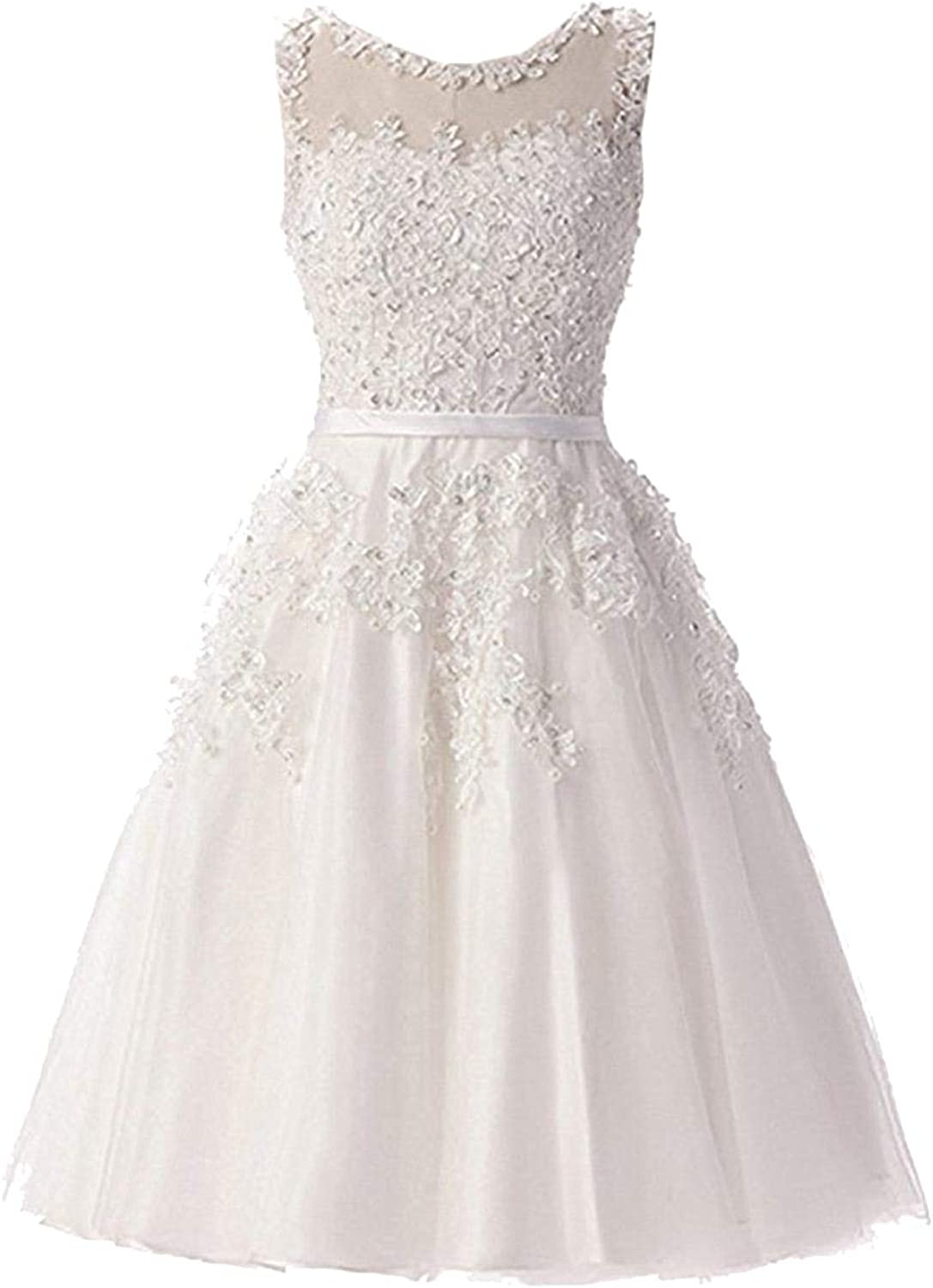 CAFSKYE Lace Illusion Flowers Beading ALine Knee Length Dinner Bridesmaids Dresses Party Short Formal Dress,Ivory,12
