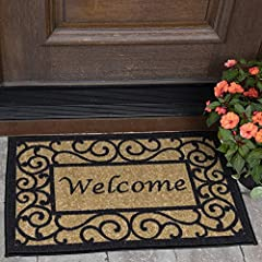 Pile: %100 high quality nylon; backing: %100 rubber Size: 2'3'' x 3' Color: Multicolor doormat features an inviting Welcome print on a beige background and delicately put borders in an intricate black strapwork design Machine-made in Turkey with the ...