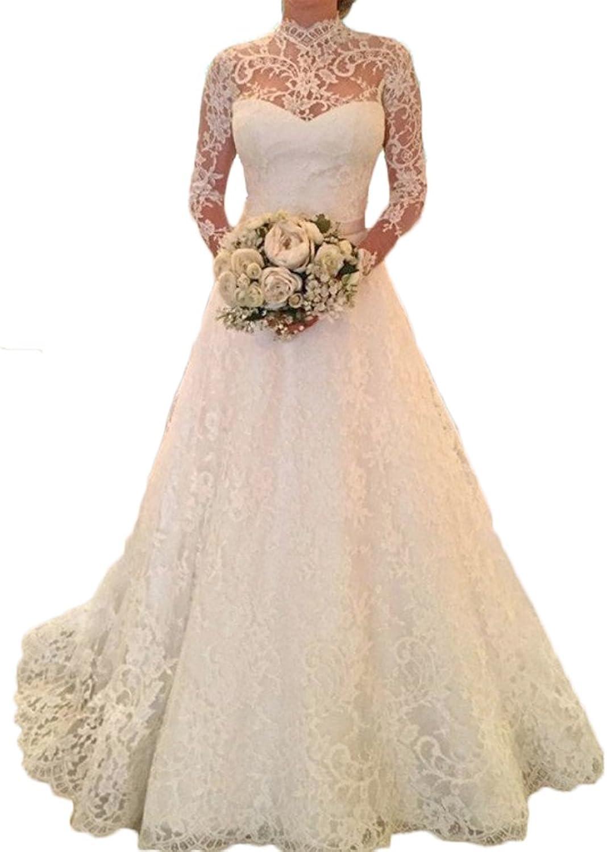 Alexzendra Women Wedding Dresses Long Sleeves Elegant Lace Bride Dresses O Back High Neck