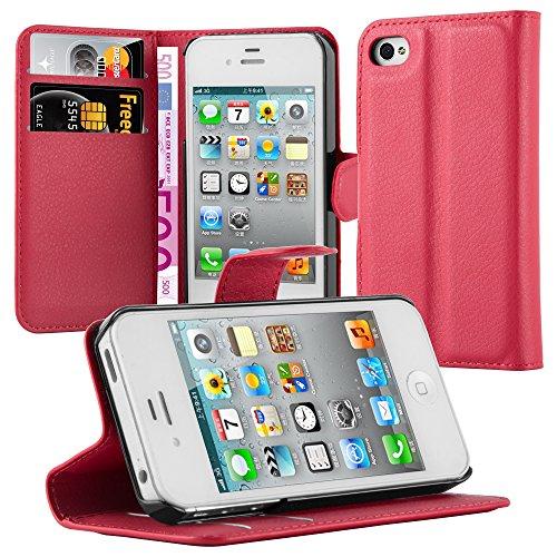 Cadorabo Funda Libro para Apple iPhone 4 / iPhone 4S en Rojo CARMÍN - Cubierta Proteccíon con Cierre Magnético, Tarjetero y Función de Suporte - Etui Case Cover Carcasa